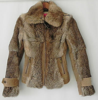 Juicy Couture Jacket Rabbit Fur/Corudroy Brown Full Zip Size XS
