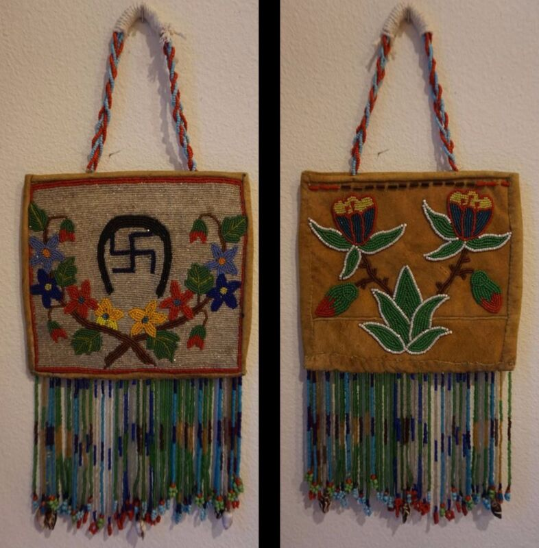 Beautiful Early 1900 Native American Plateau 2 Sided Fully Beaded Bag with Drops