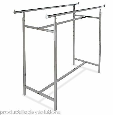 Commercial Grade Clothing Double Bar H Rack Adjustable Height 48-72 Chrome