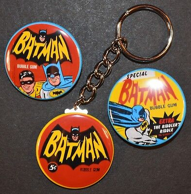 Set of Three 1966 Topps Batman Wrapper Keychain Key Chain + 2 Strong Magnets