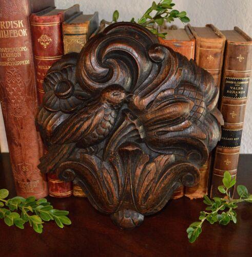Antique German Black Forest Carved Wood Bird Plaque Decorative Mount