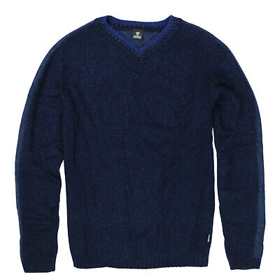 mens Jumper VERSACE V-Neck wool blend, thick, Size M to S - Blue