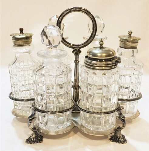 Antique English Cut Crystal 6 Piece Condiment Set Cruet Georgian Silver Plate
