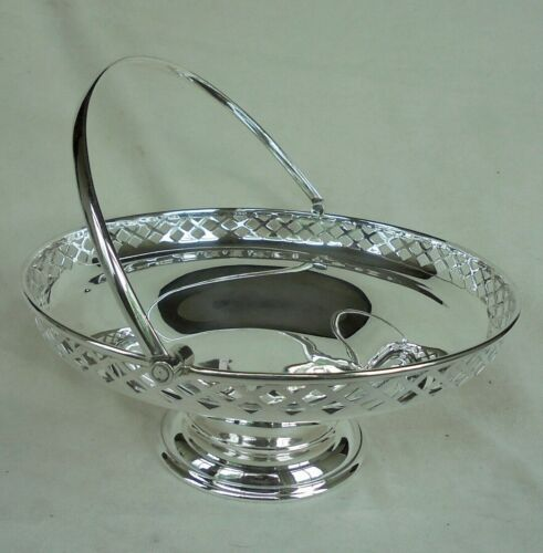 BEAUTIFUL Art Deco  CAKE BASKET WITH RETICULATED RIM - HEAVY SILVER PLATE
