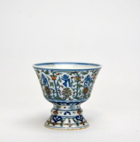 Antique Chinese Qing Qianlong MK Doucai High Foot Floral Porcelain Stem Cup