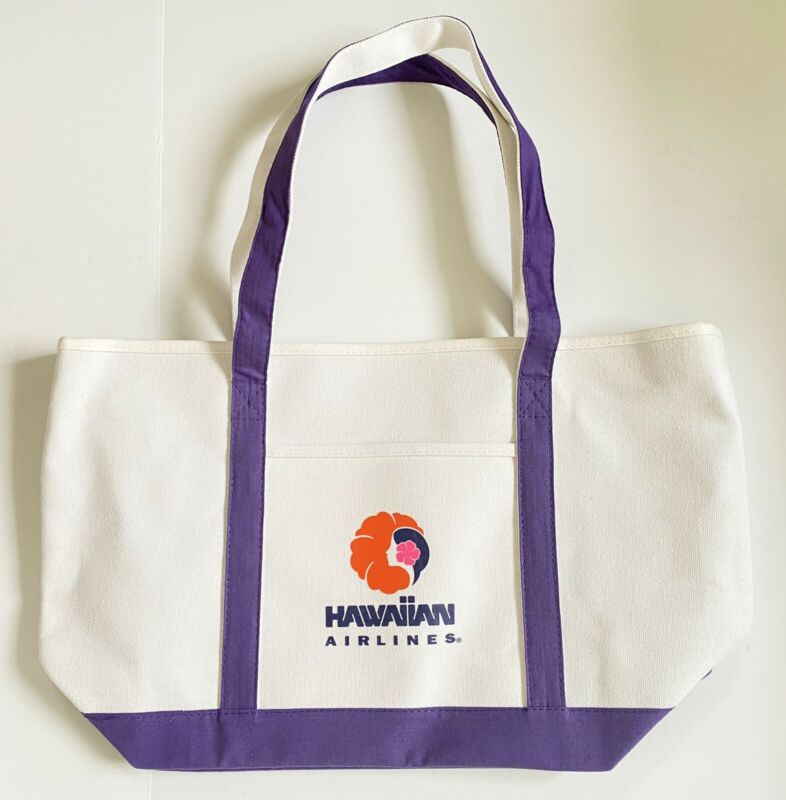 Hawaiian Airlines Large Canvas Zip-up Tote Bag New