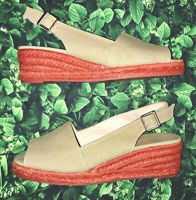 Castaner Spain Size 37 Espadrille Wedges Slingback Sandals Tan Nude Coral 6.5 7