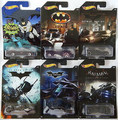 Set of 6: 2015 Hot Wheels Batman Series Exclusive Diecast Vehicles