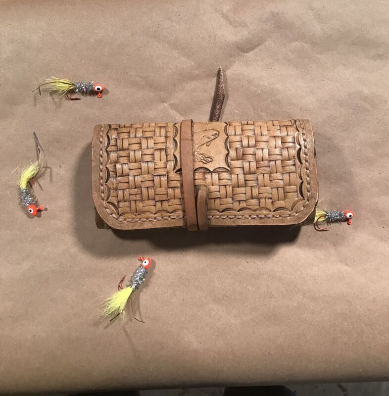 fly fishing wallet Handmade From Oil Tan Leather And Wool