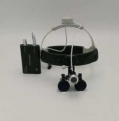 Dental Surgical Binocular 3.5x420mm Leather Headband Loupe Led Headlight Black