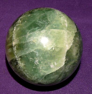 Fluorita Bola Pulido 499,2g, Di. = 67mm, Piedra Curativa, Pedestal de Madera
