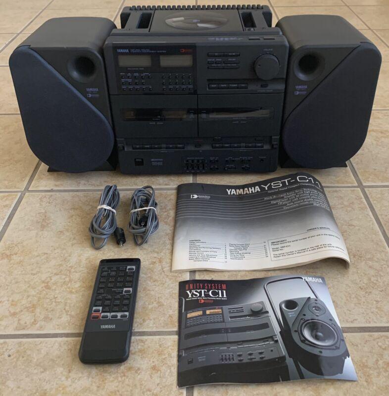 VERY RARE!!! Yamaha YST-C11 AM/FM/CD/Cassette Boombox, Remote, Cables & Docs!