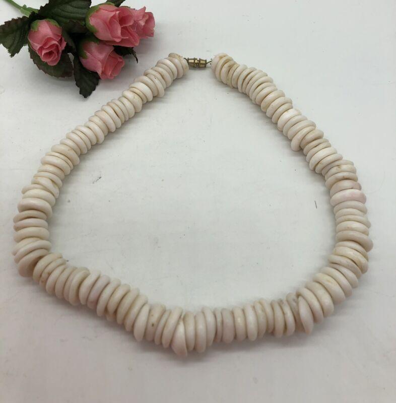 "Vintage Puka Shell Hawaiian Necklace 14mm 17"""