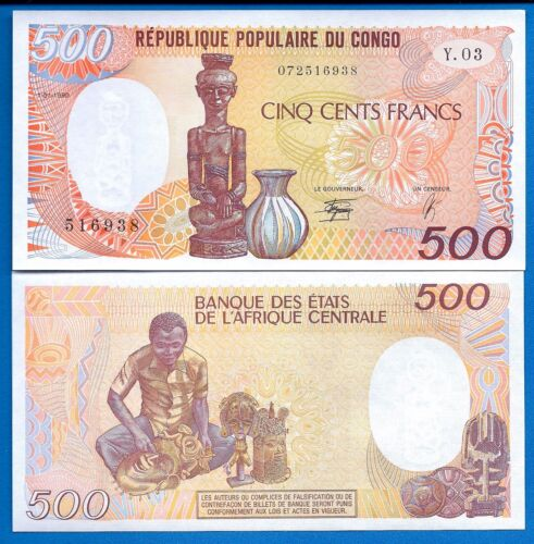 Congo Republic P-8 500 Francs Year 1990 Uncirculated Banknote Africa