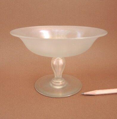 Vintage Steuben Verre De Soie Compote Onionskin Iridescent Glass Bowl Carder Era