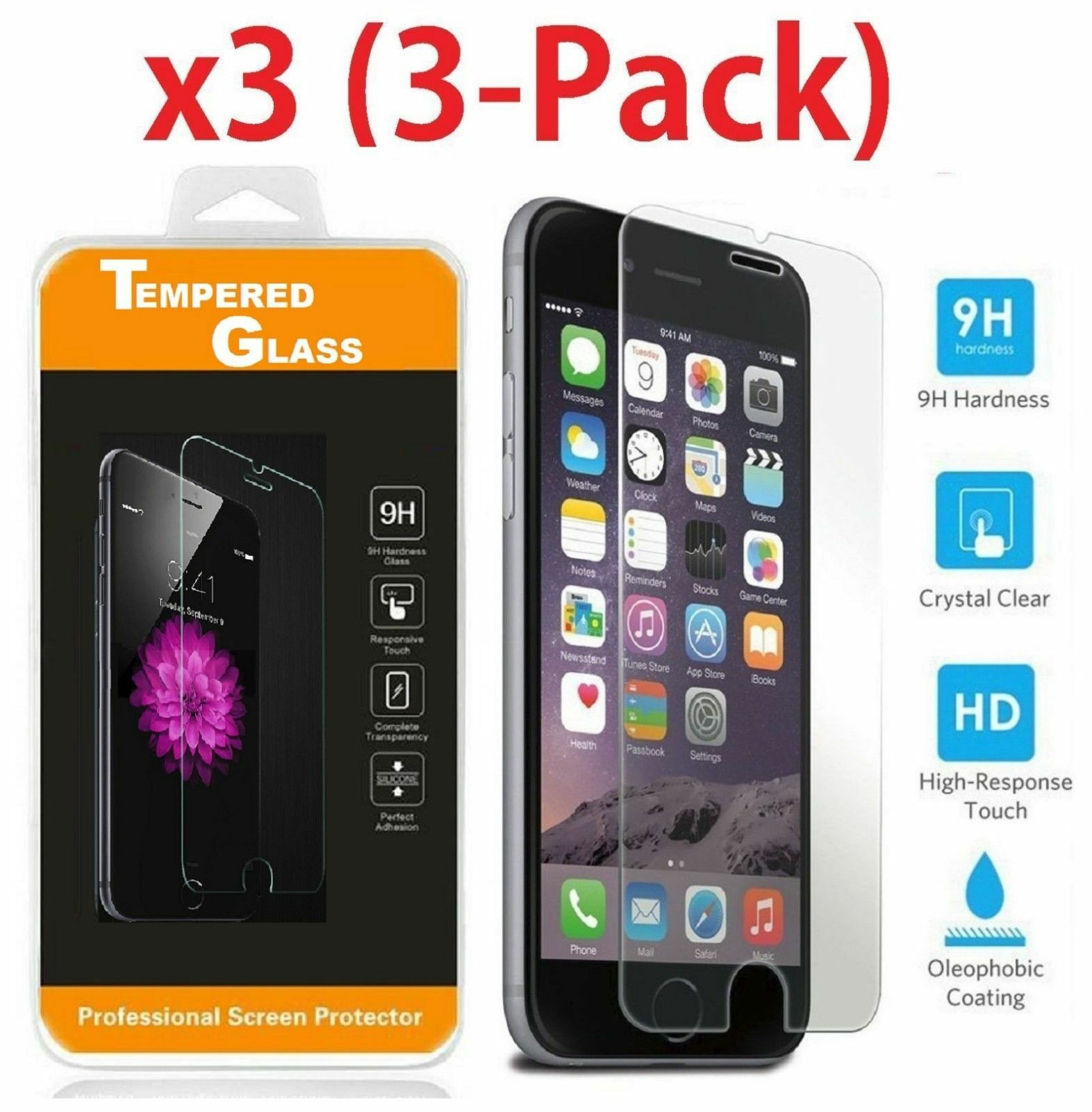 Premium Real Screen Protector Tempered Glass Film For iPhone 6 7 8 Plus Xs Max -   10 - Premium Real Screen Protector Tempered Glass Film For iPhone 6 7 8 Plus Xs Max