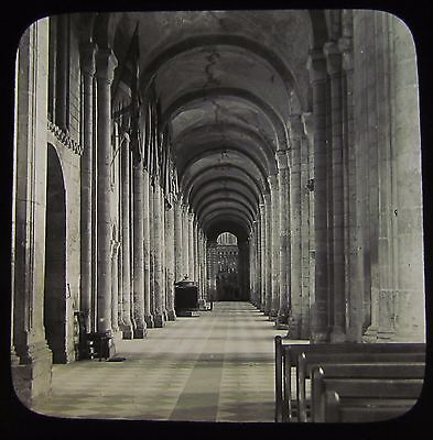 Glass Magic Lantern Slide ELY CATHEDRAL NO7 SOUTH AISLE OF NAVE C1900 PHOTO