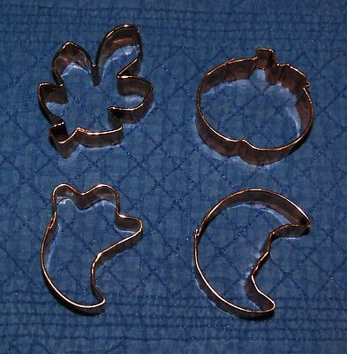Lot Of (4) Halloween Fall Mini Copper Cookie Cutters ](Mini Cookie Cutters Halloween)