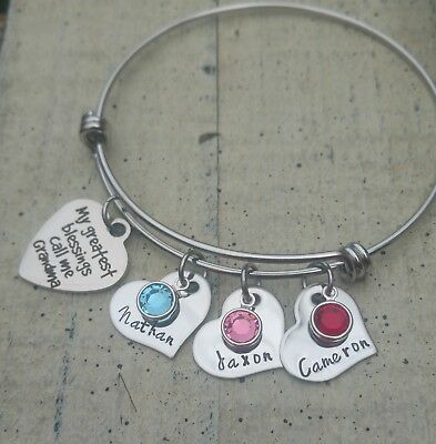 Grandma Bracelet personalized name birthstone jewelry Hand stamped grandchildren