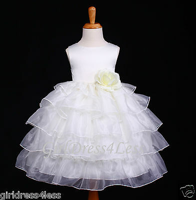 IVORY WEDDING PAGEANT TIERED ORGANZA FLOWER GIRL DRESS 12M 18M 2/2T 4/4T 6 8 10 - Flower Girl Dresses Organza
