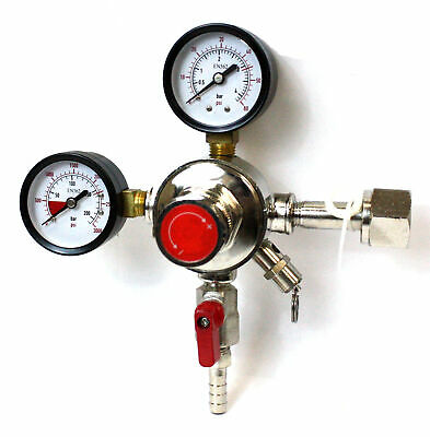 Dual Gauge CO2 System Regulator Shutoff Valve HFS 4 Homemade Brewing Draft -