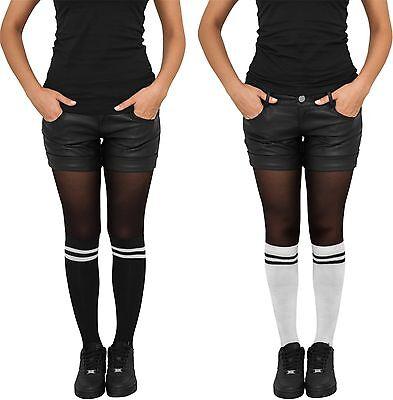 S COLLEGE SOCKS  Kniestrümpfe Socken schwarz weiß Damen Lady (Schwarz Weiß Gestreifte Strümpfe)