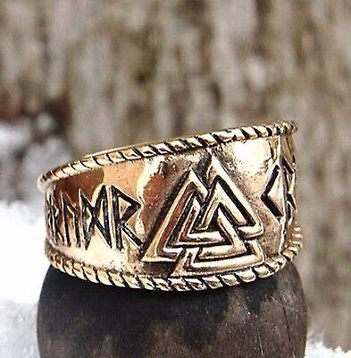 toller Valknut Ring Bronze 60-70 variabel einstellbar Wikingerring Wotansknoten