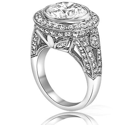 6.90 ct Round Cut Natural F SI Diamond Engagement Ring 14K White Gold( 4.51crt)