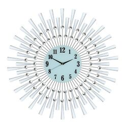 Large Silver Spoke Flower and Crystal Pendulum Wall Clock