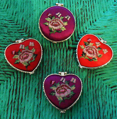 Chinese Makeup MIRROR Brocade Embroideries Roses Red or Purple Silk Heart, - Silk Brocade Heart