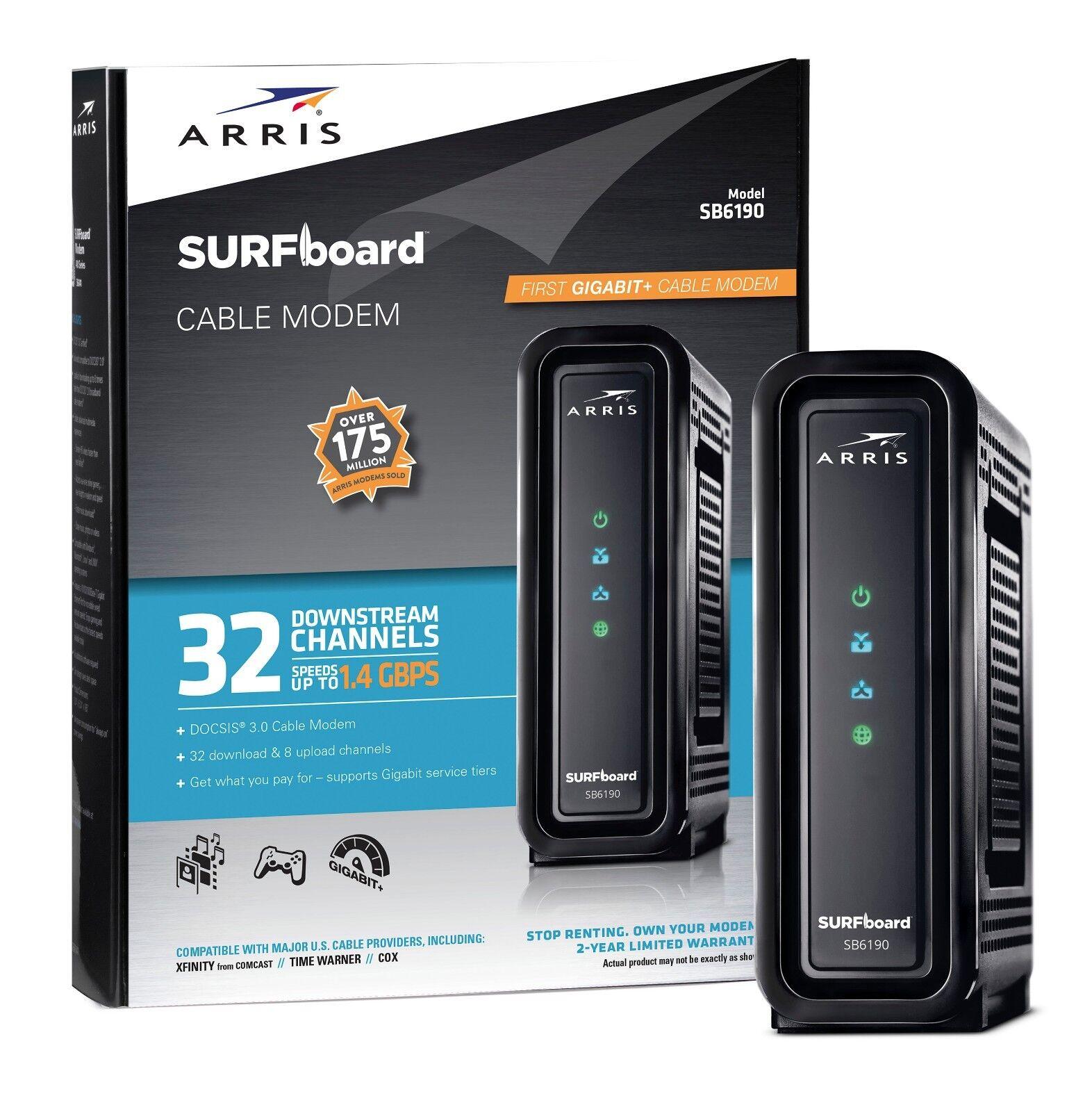 Arris Surfboard Black Sb6190 Docsis 3.0 Cable Modem Inter...