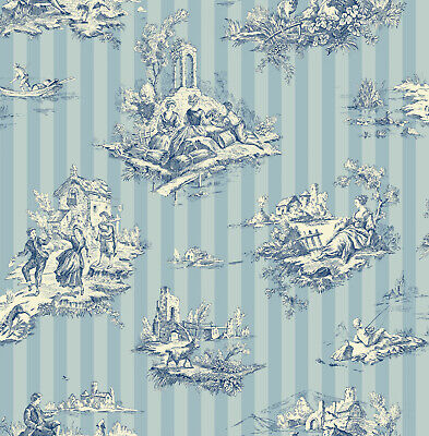 Off-White and Blue Toile Striped Wallpaper Bolt- 20.5