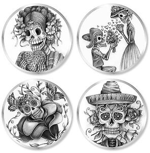 Set of 4 MEXICAN SUGAR SKULL, DAY OF THE DEAD Chunky Clear Plastic 85mm Coasters