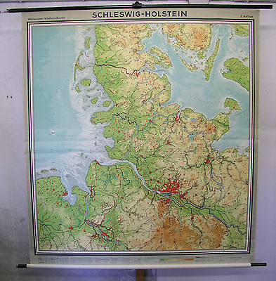 Schulwandkarte Wandkarte Schulkarte Karte Alte Schleswig-Holstein 187x204cm 1956