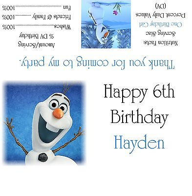 Disney's Frozen Olaf Candy Bar Wrappers/Birthday Party Favors Design #1 - Frozen Candy Bar