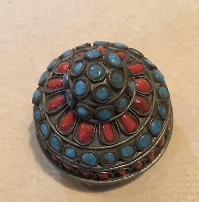 TIBETAN  VINTAGE TRINKET  LIDDED BOX with Red Coral And turquoise Stones