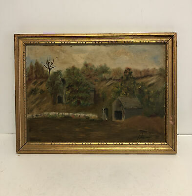 Vintage Scenery Landscape Framed Oil Painting on Board Illegibly Signed