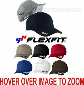 FLEXFIT-V-Flex-Twill-Baseball-Cap-Fitted-Hat-Mid-Profile-S-M-L-XL-5001-NEW-Golf