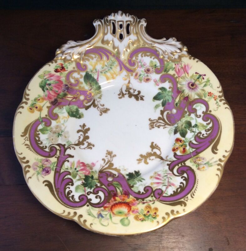 Old Paris Porcelain Victorian Rococo Calling Card Receiver Bride Basket Compote