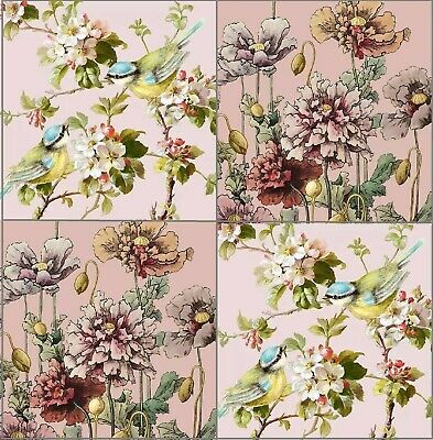 4 Different Vintage Table Paper Napkins for Party Lunch Decoupage Floral Pink