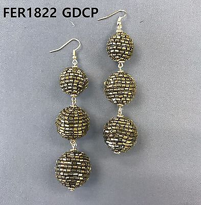 Designer Inspire Gold Finished Gold Beaded Triple Ball Drop Dangle Hook Earrings
