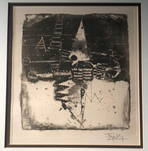 Vintage Johnny Friedlaender Abstract Etching Retro Art Signed Mid Century Modern