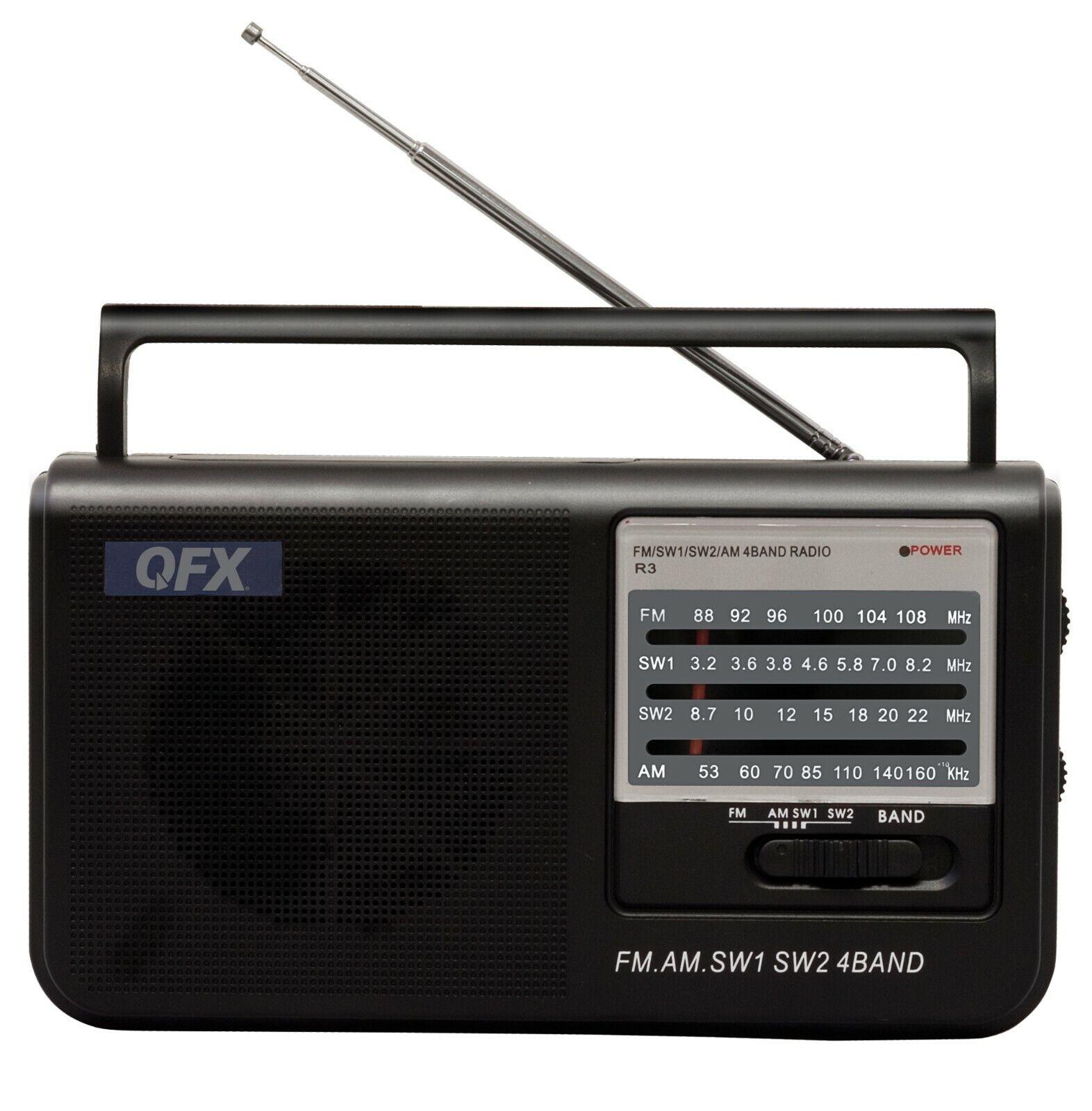 QFX R-3 AM/FM/SW1/SW2 Retro-Styled Handheld 4-Band Radio +LE