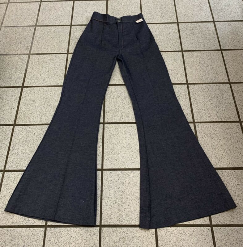 Vintage Bell Bottom Jeans Women Disco Hippie Dark Denim Flare 1960s NEW 25 X 31