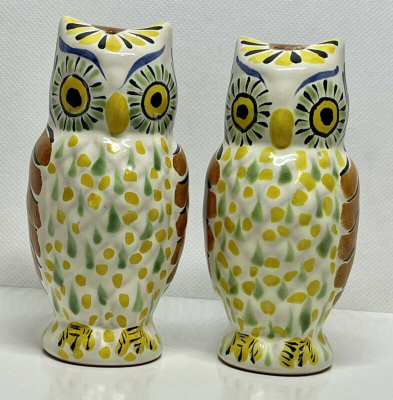 """Gorky Gonzalez Majolica Mexican Pottery Owl Salt & Pepper Shakers 4.5"""" Signed"""