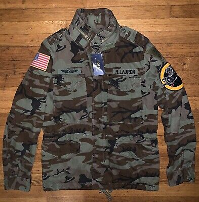 Polo Ralph Lauren Camo Field Army Jacket With Hood Men's Small Brand New NWT