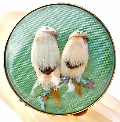 Miref Paris Vintage Green Bird Compact with Feathers Mirror Vanity