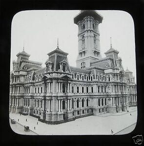 Glass-Magic-lantern-slide-CITY-HALL-PHILADELPHIA-C1890S-USA-AMERICA