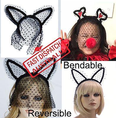 Lace Veil Rabbit Cat Animal Ear Halloween Party Costume Headband Head Hair Band