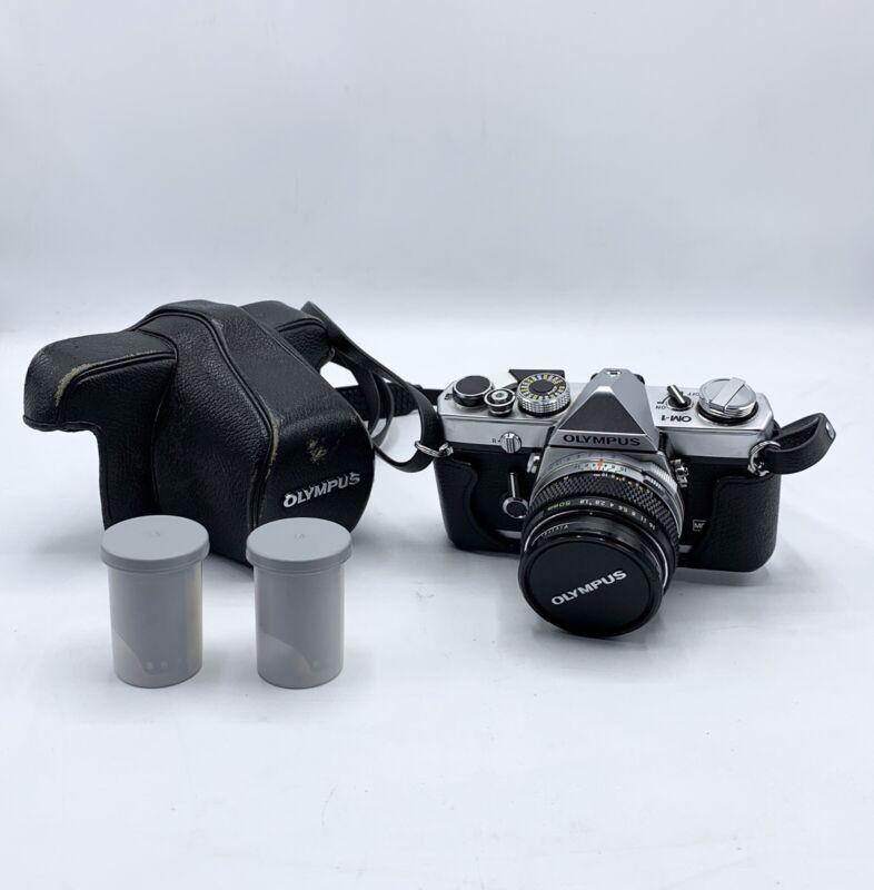 Vintage Olympus OM1 W/F. Zukio Auto-s F=50mm 1:1.8  Lens W/Strap And Case & Film